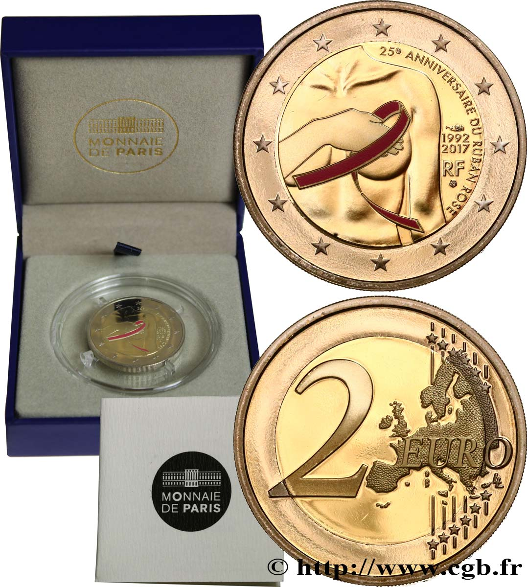 FRANCE Belle Épreuve 2 Euro CANCER DU SEIN 2017 Proof set