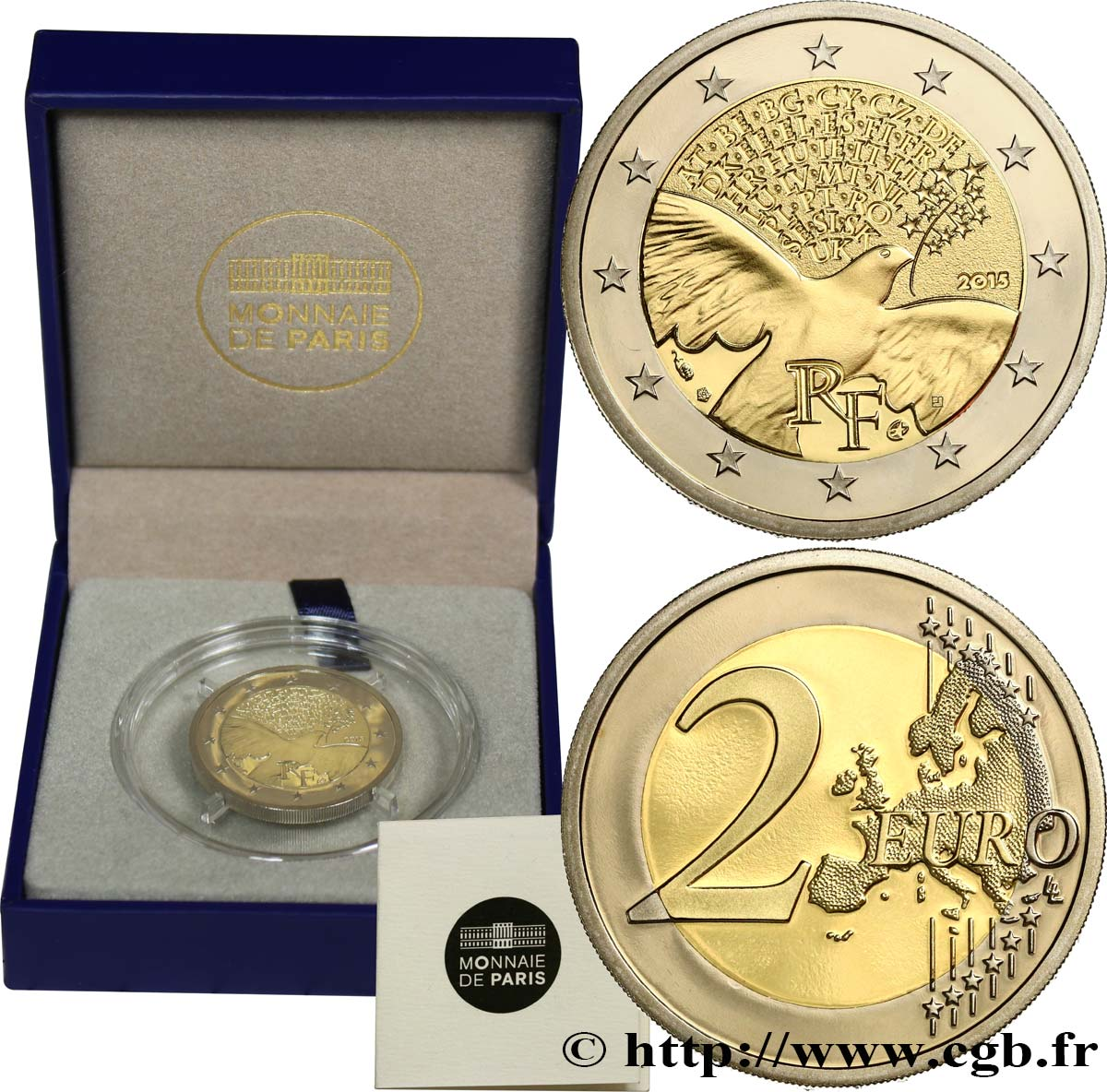 FRANCE Belle Épreuve 2 Euro LA PAIX EN EUROPE 2015 Proof set