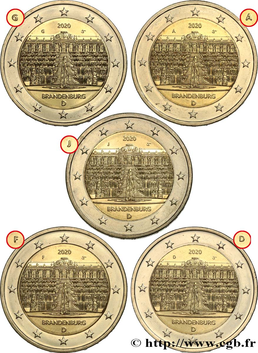 GERMANY lot 5 ateliers 2 Euro PALAIS DE SANSSOUCI 2020 MS