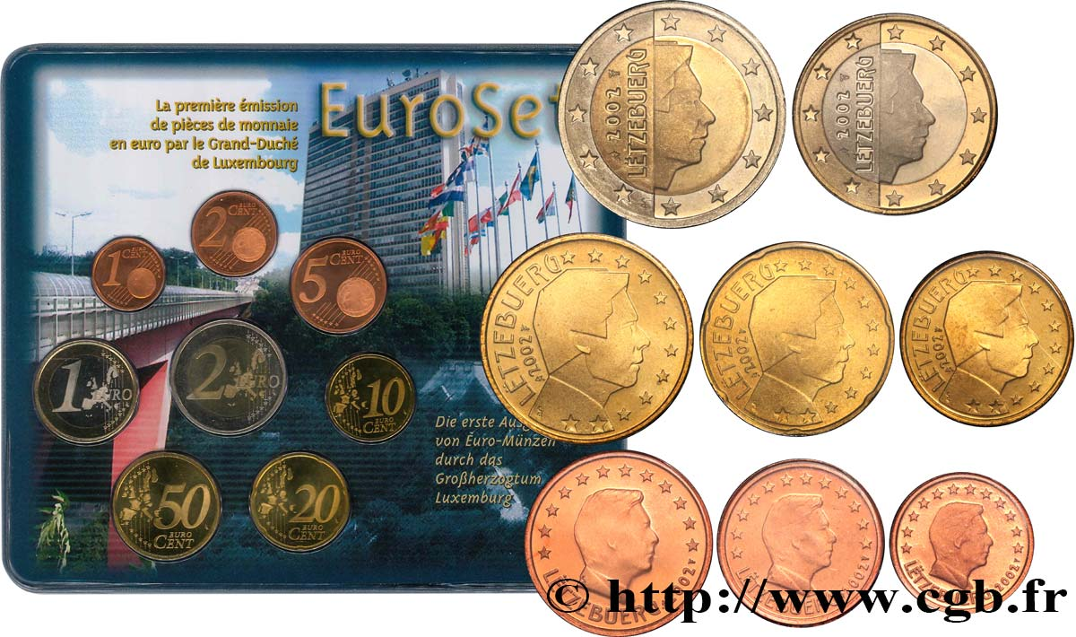 LUXEMBOURG SÉRIE Euro BRILLANT UNIVERSEL  - Légende rectifiée 2002 Brilliant Uncirculated