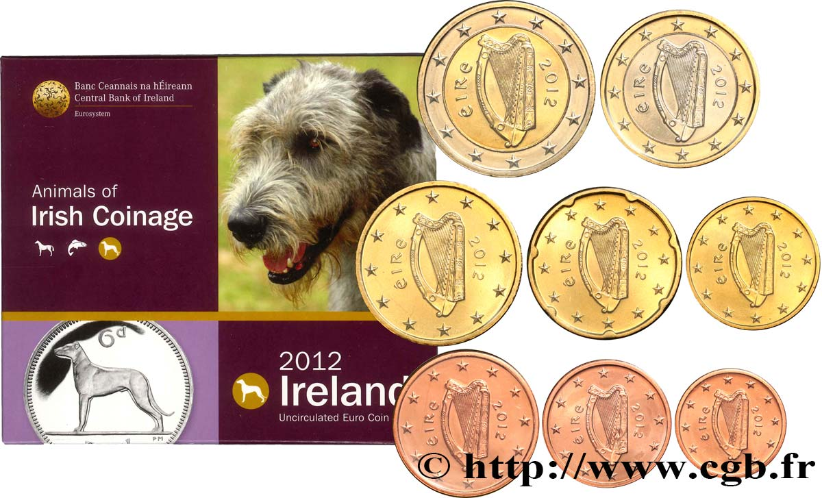 IRLANDE SÉRIE Euro BRILLANT UNIVERSEL - ANIMALS OF IRISH COINAGE 2012 BU