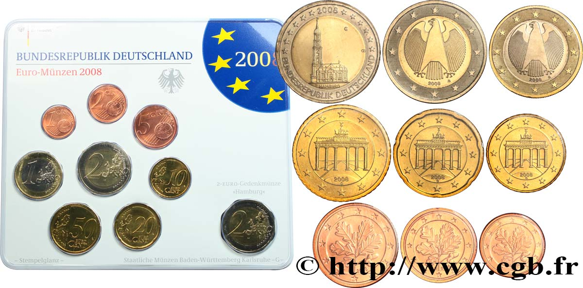 GERMANY SÉRIE Euro BRILLANT UNIVERSEL   2008 Brilliant Uncirculated
