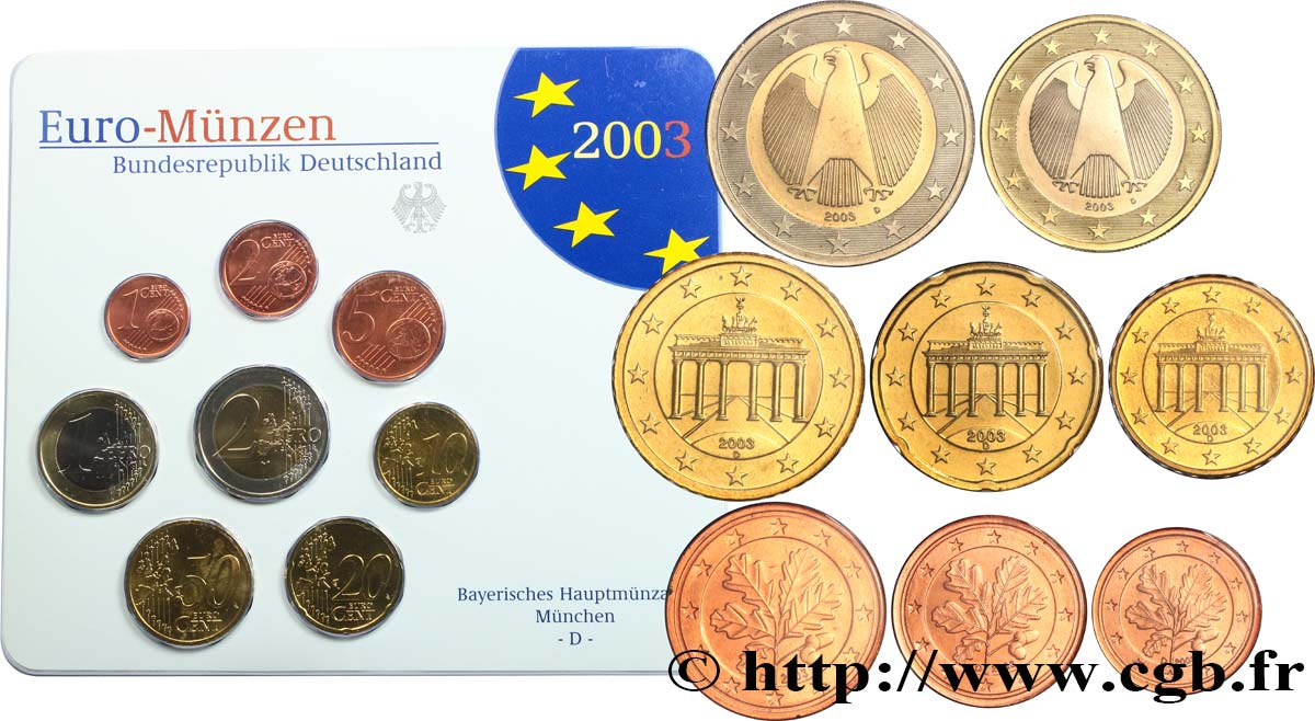 GERMANY SÉRIE Euro BRILLANT UNIVERSEL  2003 Brilliant Uncirculated