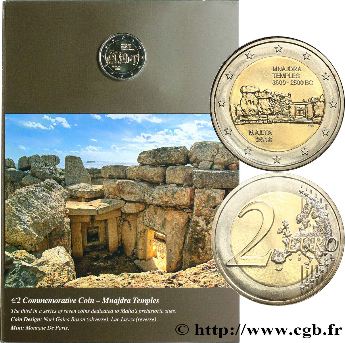 MALTA Coin-Card 2 Euro TEMPLE MNAJDRA 2018 Brilliant Uncirculated