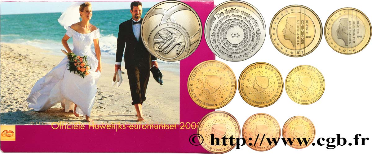 NETHERLANDS SÉRIE Euro BRILLANT UNIVERSEL - MARIAGE 2003 Brilliant Uncirculated