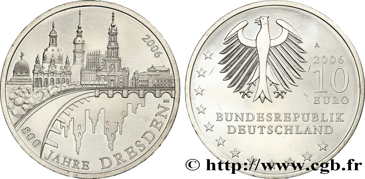 GERMANY 10 Euro 800 ANS DE DRESDE 2006 MS