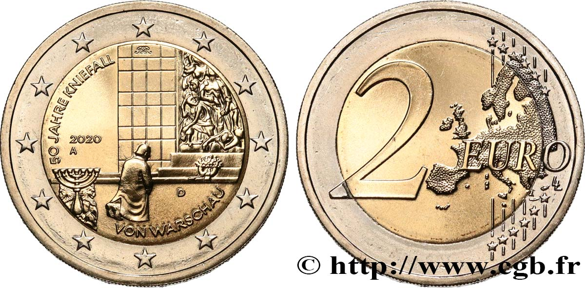 GERMANY 2 Euro AGENOUILLEMENT DE VARSOVIE 2020 MS