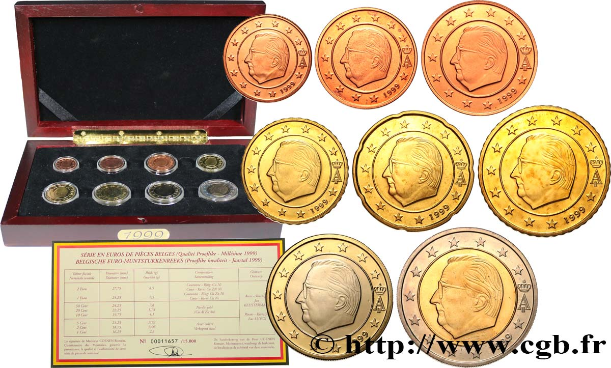 BELGIUM COFFRET Euro BELLE ÉPREUVE 1999 Proof set