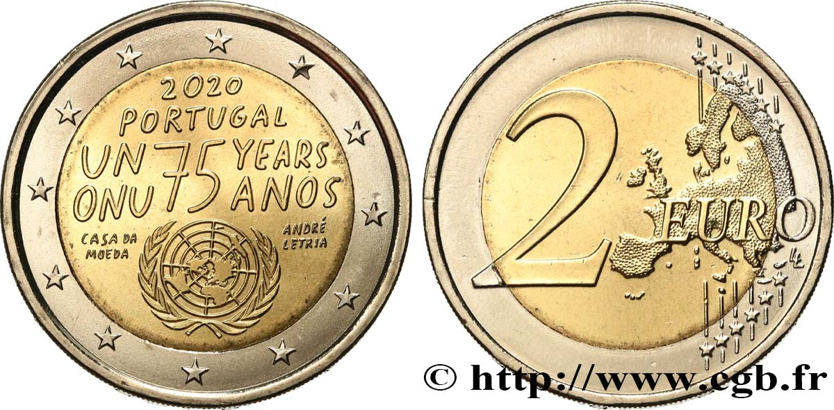 PORTUGAL 2 Euro 75 ANS ONU 2020 MS