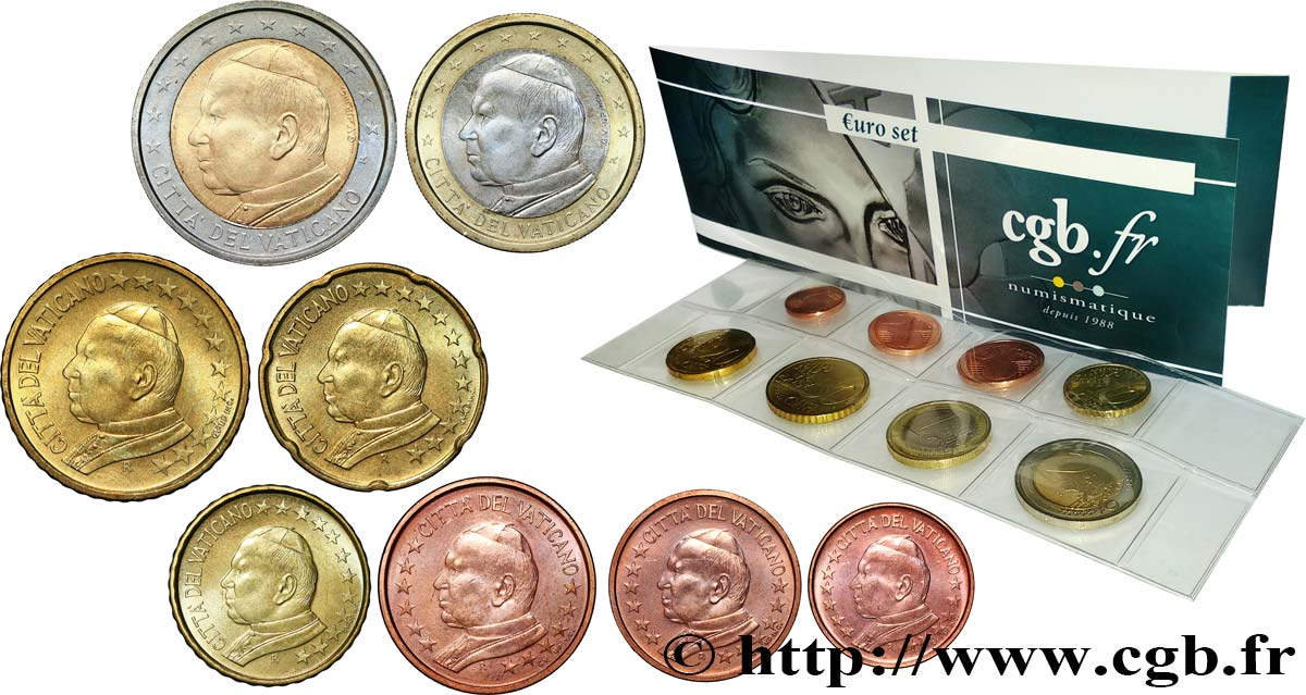 VATICAN LOT DE 8 PIÈCES EURO (1 Cent - 2 Euro Jean-Paul II) 2005 MS