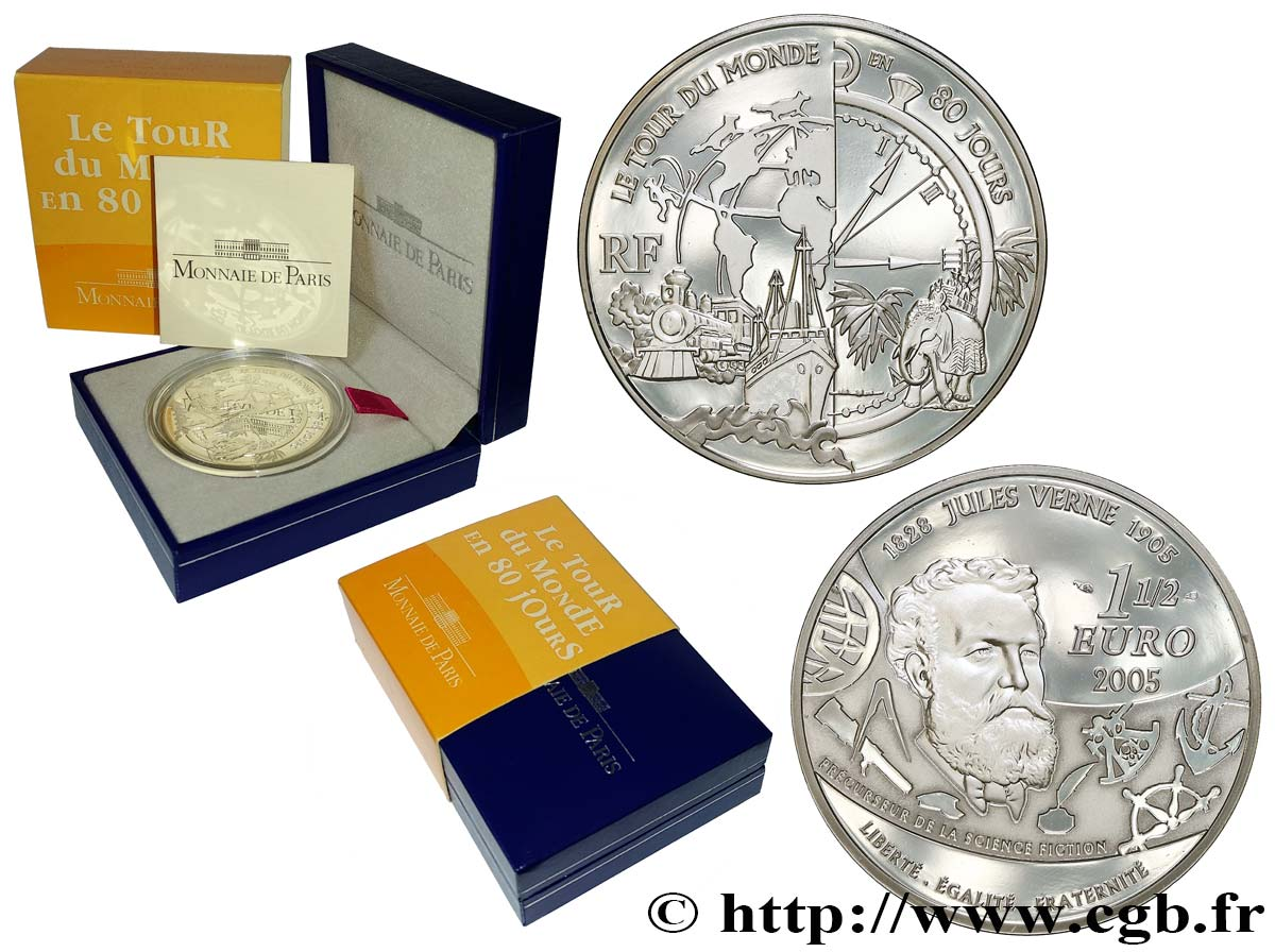 FRANCE Belle Épreuve 1 Euro 1/2 JULES VERNE - LE TOUR DU MONDE EN 80 JOURS 2005 Proof set