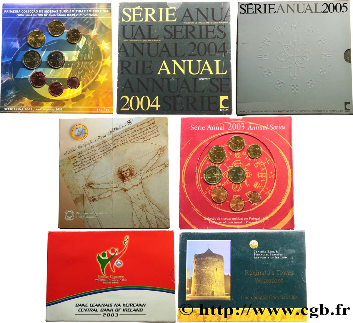 EUROPE Lot de 7 séries BRILLANT UNIVERSEL -  Irlande, Italie, Portugal 2002-2005 BU