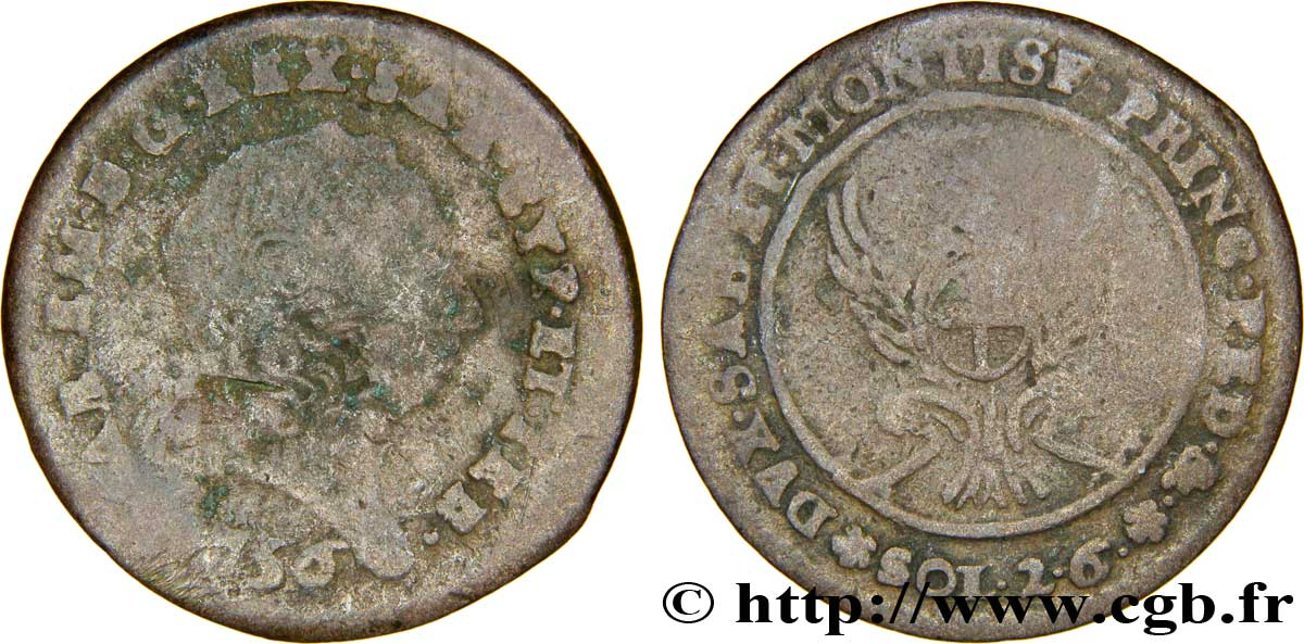 SAVOIE - DUCHÉ DE SAVOIE - CHARLES-EMMANUEL III 2 sols de demi (soldi 2.6)
