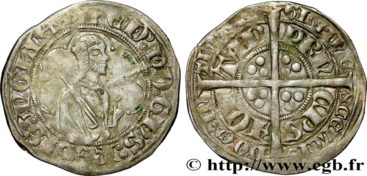 AQUITAINE - DUCHY OF AQUITAINE - EDWARD THE BLACK PRINCE Demi-gros XF/AU