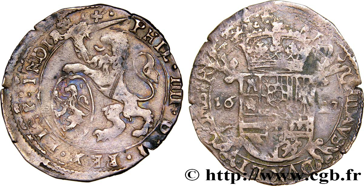 COUNTY OF BURGUNDY - PHILIP IV OF SPAIN Escalin XF
