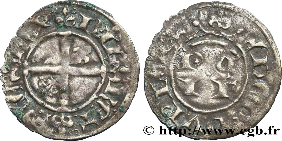 COUNTY OF PROVENCE - ROBERT OF ANJOU Double denier ou patac fSS