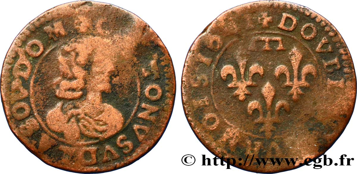 PRINCIPAUTY OF DOMBES - GASTON OF ORLEANS Double tournois, type 16 S