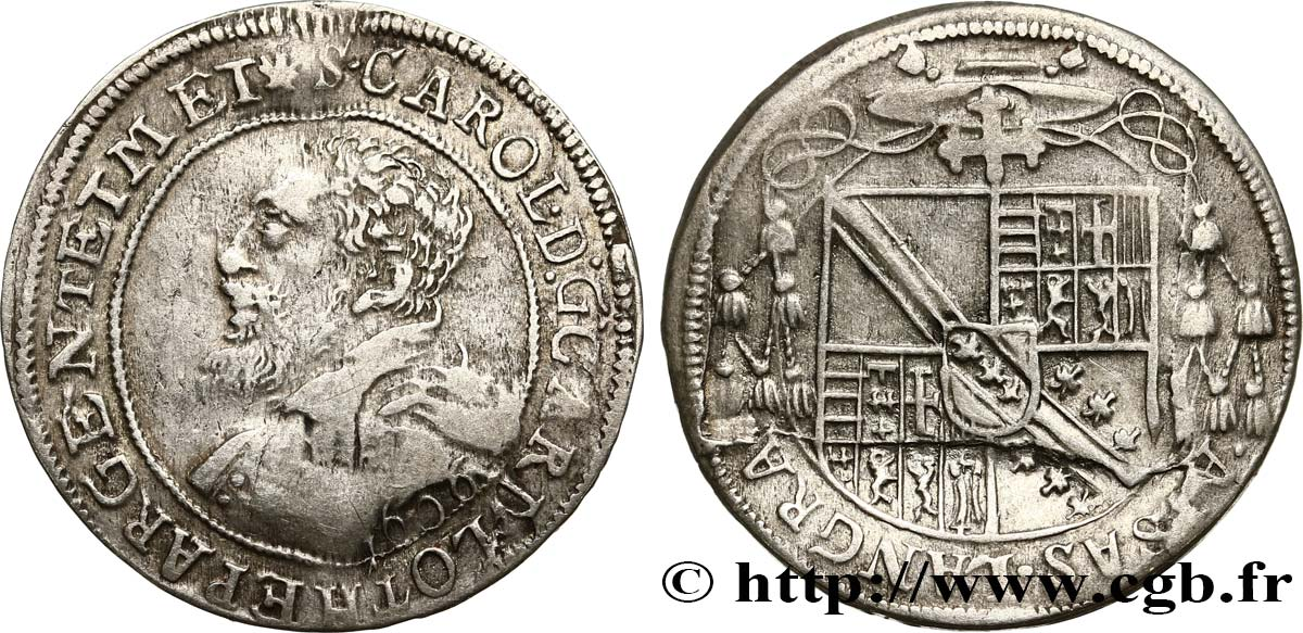 ALSACE - BISHOPRIC OF STRASBOURG AND METZ - CHARLES II OF LORRAINE-VAUDÉMONT Teston ou quart de thaler XF/AU