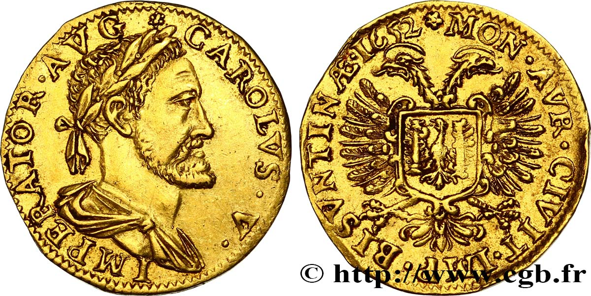 TOWN OF BESANCON - COINAGE STRUCK AT THE NAME OF CHARLES V Demi-pistole q.SPL