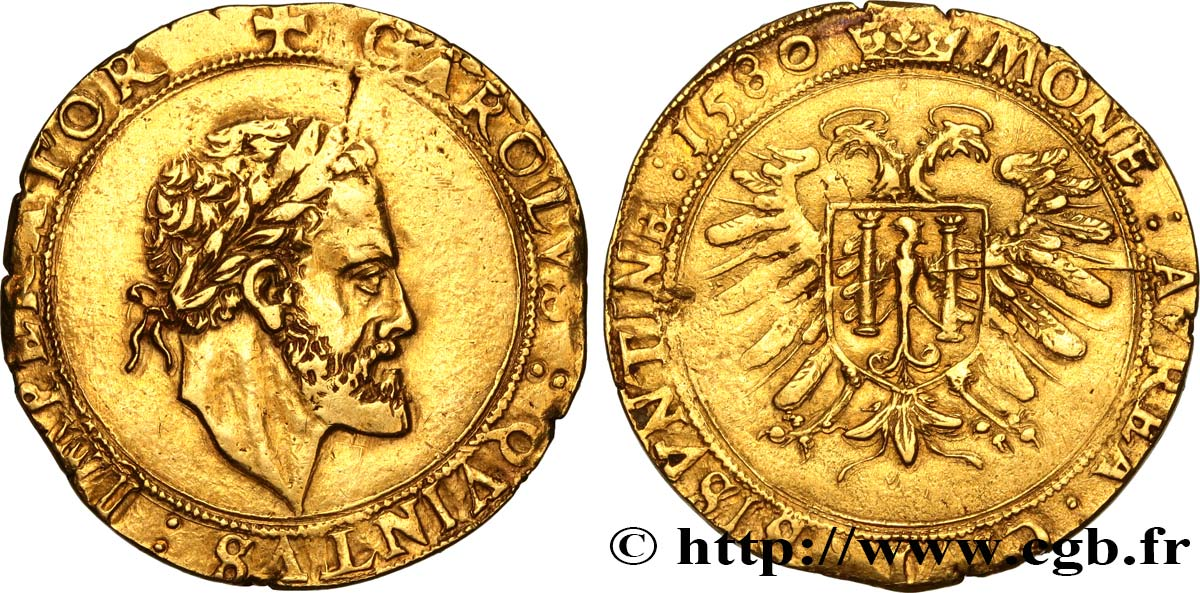 TOWN OF BESANCON - COINAGE STRUCK IN THE NAME OF CHARLES V Double pistole à la grosse tête (quadruple pistolet) XF