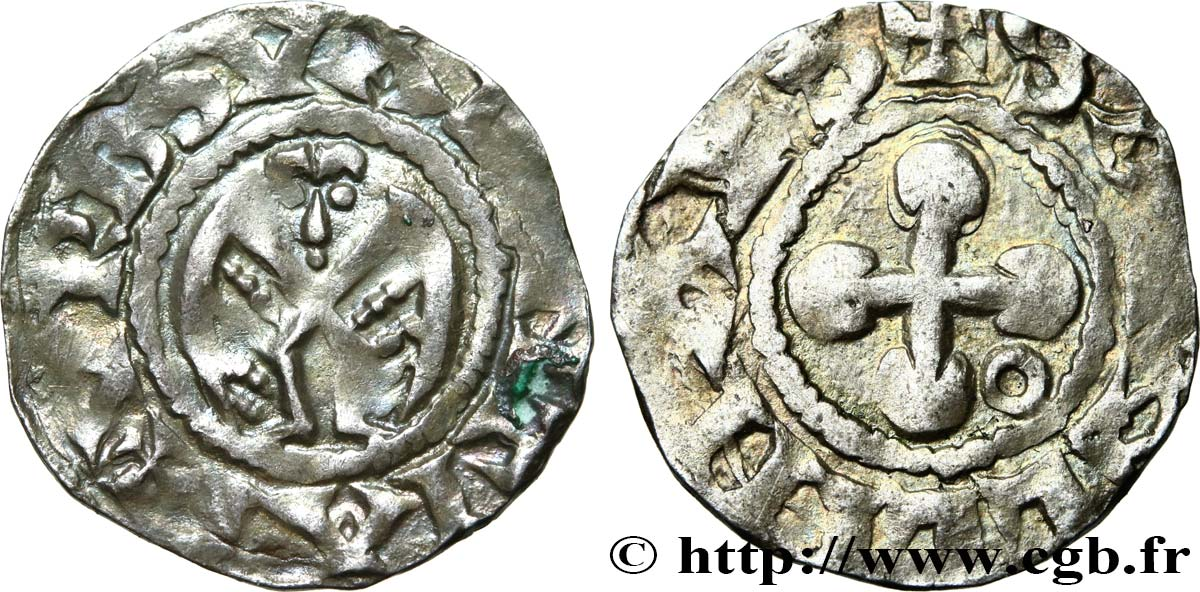 DAUPHINÉ - BISHOP OF VALENCE - ANONYMOUS COINAGE Denier AU/XF