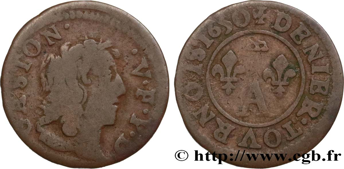 DOMBES - PRINCIPALITY OF DOMBES - GASTON OF ORLEANS Denier tournois, type 10 VG/F