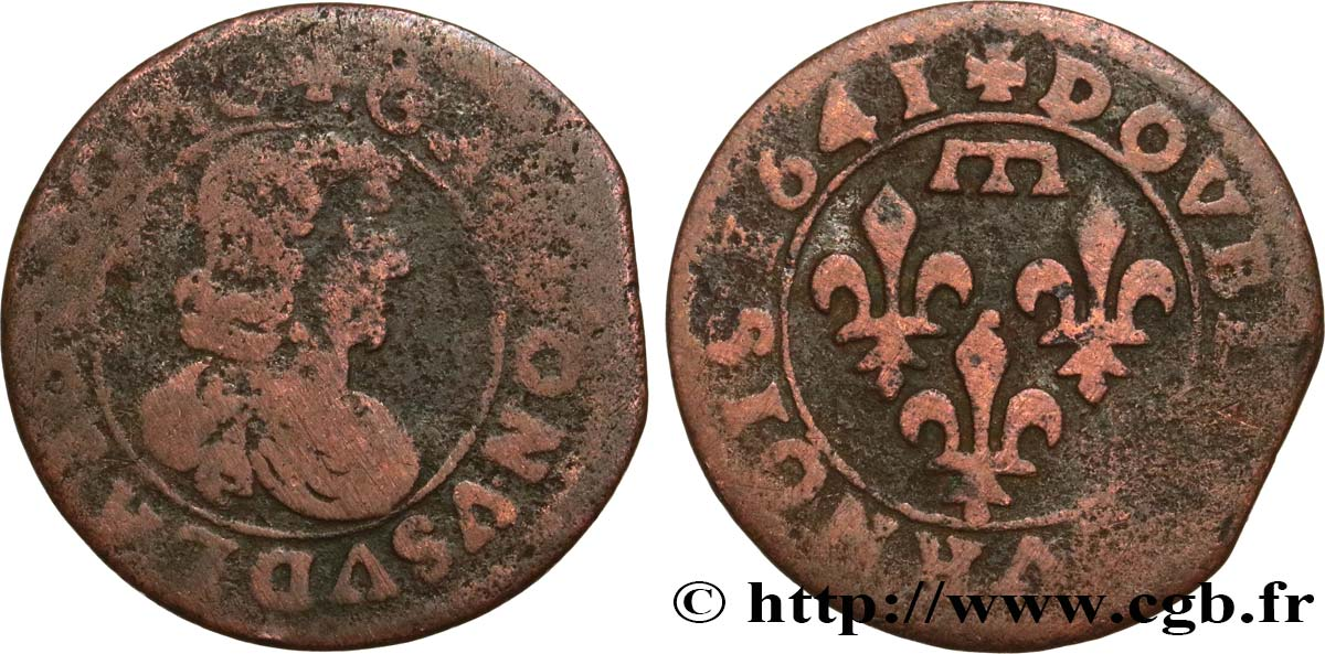 DOMBES - PRINCIPALITY OF DOMBES - GASTON OF ORLEANS Double tournois, type 16 F