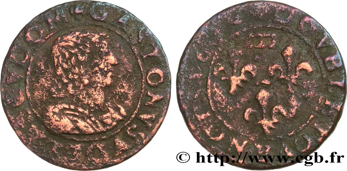 PRINCIPAUTY OF DOMBES - GASTON OF ORLEANS Double tournois, type 14 MB/B