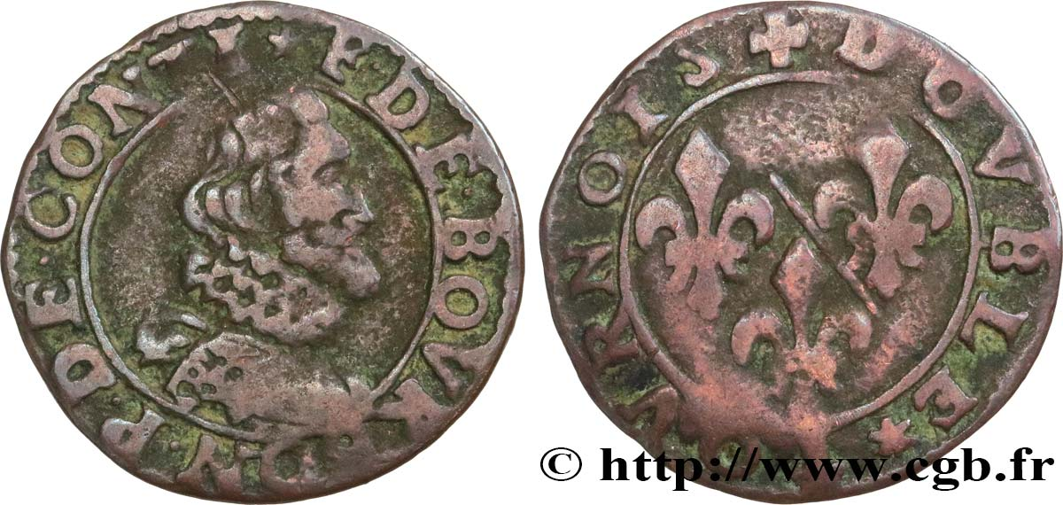 PRINCIPALITY OF CHATEAU-REGNAULT - FRANCIS OF BOURBON-CONTI Double tournois, type 12 VG