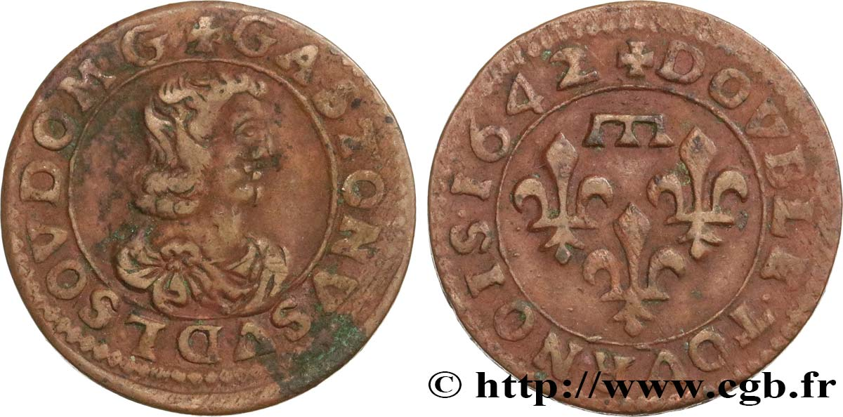DOMBES - PRINCIPALITY OF DOMBES - GASTON OF ORLEANS Double tournois, type 16 XF/AU