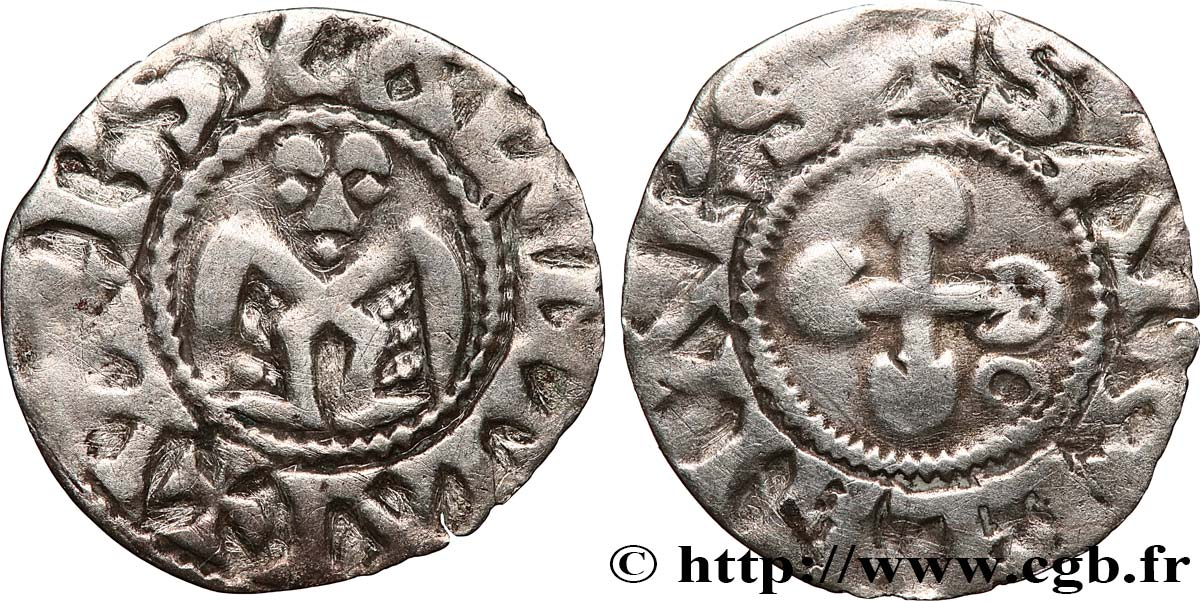 DAUPHINÉ - BISHOP OF VALENCE - ANONYMOUS COINAGE Denier XF/VF