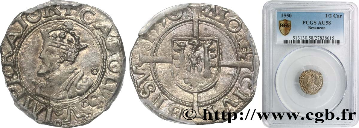 TOWN OF BESANCON - COINAGE STRUCK AT THE NAME OF CHARLES V Blanc ou petit carolus SPL58