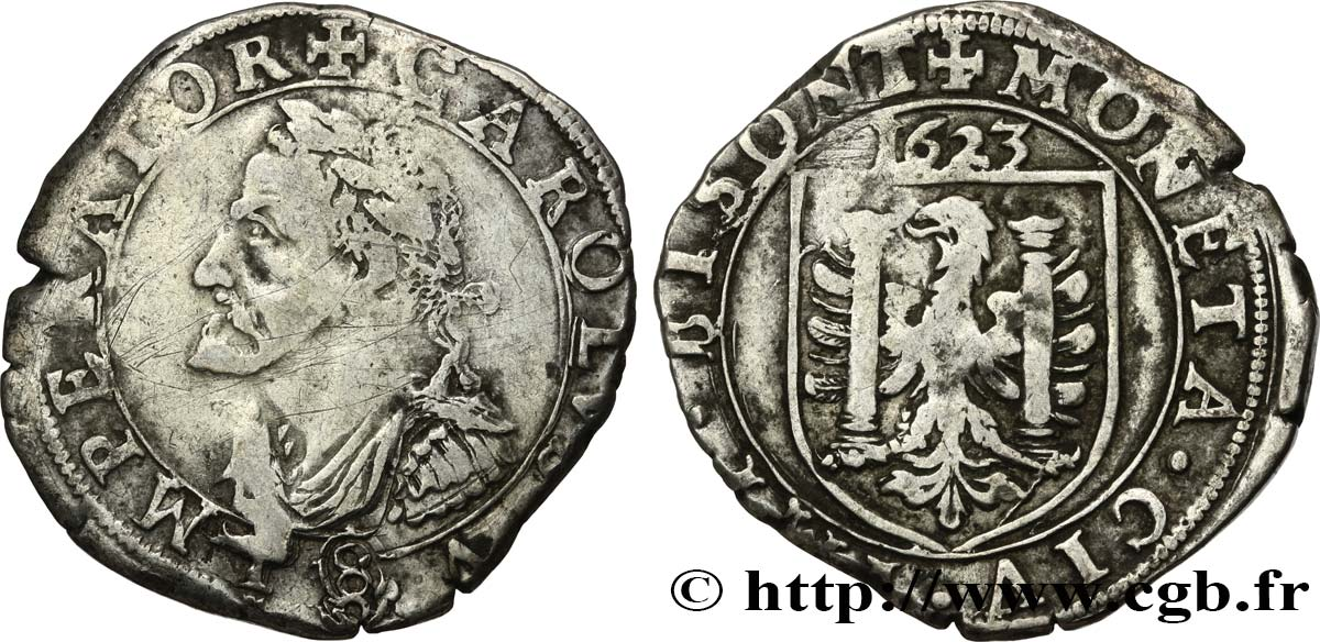 TOWN OF BESANCON - COINAGE STRUCK AT THE NAME OF CHARLES V Teston ou huit gros q.BB