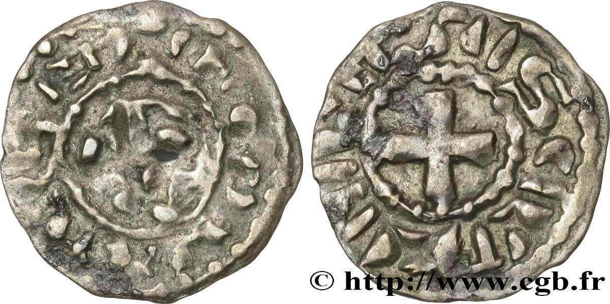 NIVERNAIS - COUNTY OF NEVERS - COINAGE IMMOBILIZED IN THE NAME OF LOUIS IV TRANSMARINUS Obole immobilisée au nom de Louis IV VF/VF