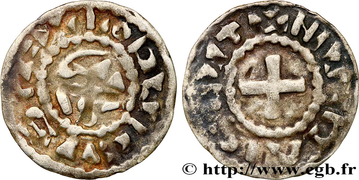 NIVERNAIS - COUNTY OF NEVERS - COINAGE IMMOBILIZED IN THE NAME OF LOUIS IV TRANSMARINUS Obole immobilisée au nom de Louis IV XF/VF
