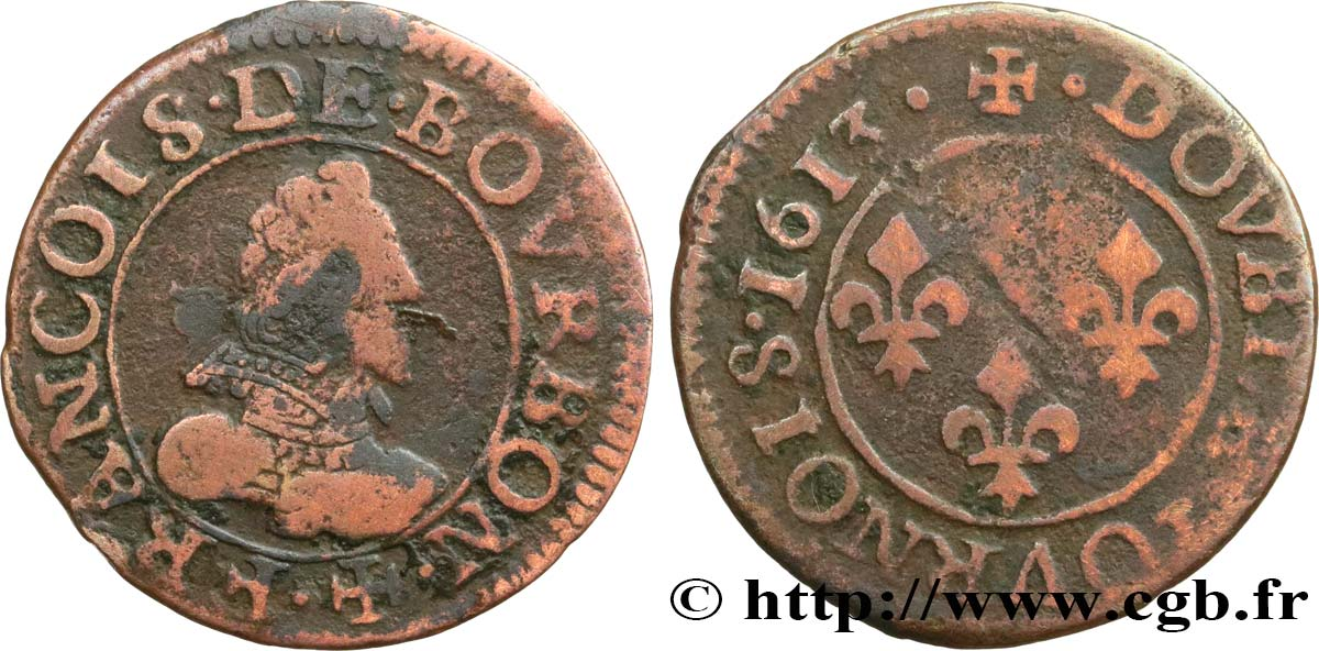 PRINCIPAUTY OF CHATEAU-REGNAULT - FRANCOIS OF BOURBON-CONTI Double tournois, type 1 MB
