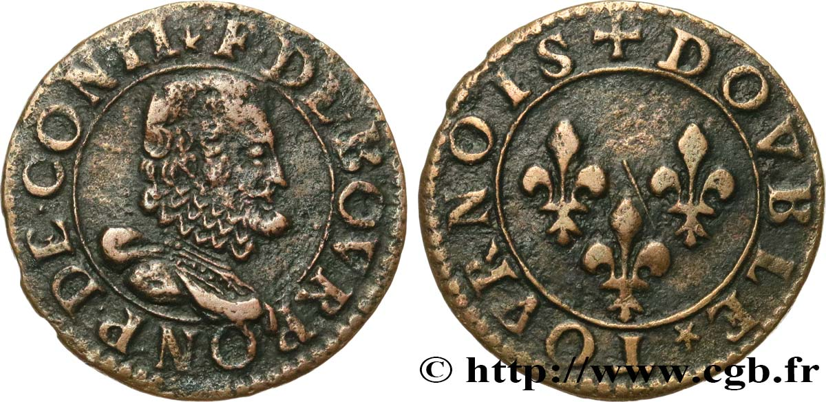 PRINCIPAUTY OF CHATEAU-REGNAULT - FRANCOIS OF BOURBON-CONTI Double tournois, type 16 q.SPL