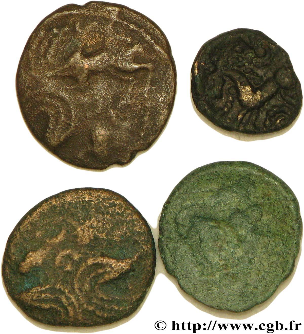 Gallo-Belgian / Celtic Lot de 3 bronzes et 1 quart de statère en bronze