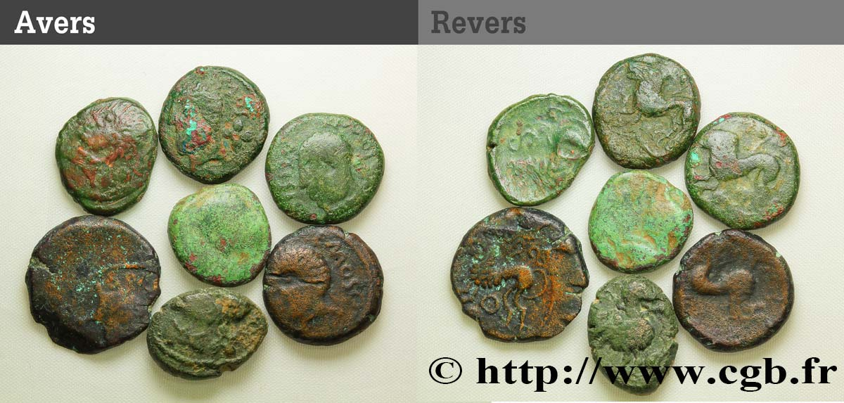 RÈMES (Région de Reims) Lot de 7 bronzes ATISIOS REMOS, classes variées lot