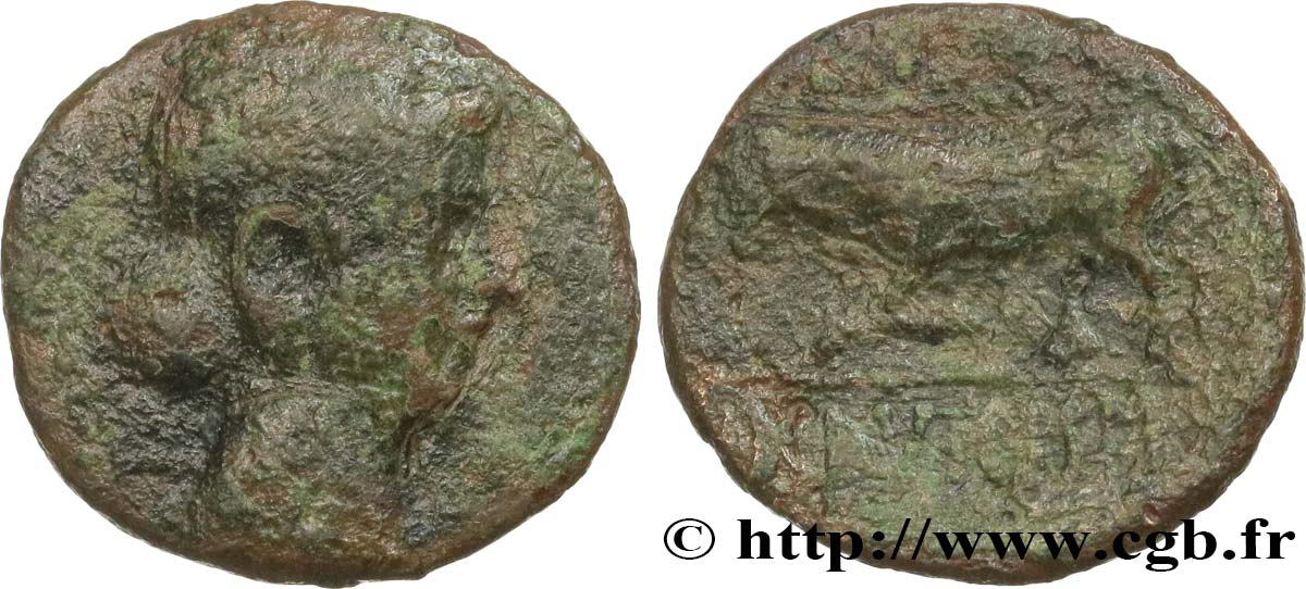 GALLIA BELGICA - REMI (Area of Reims) Bronze GERMANVS INDVTILLI au taureau (Quadrans) VF