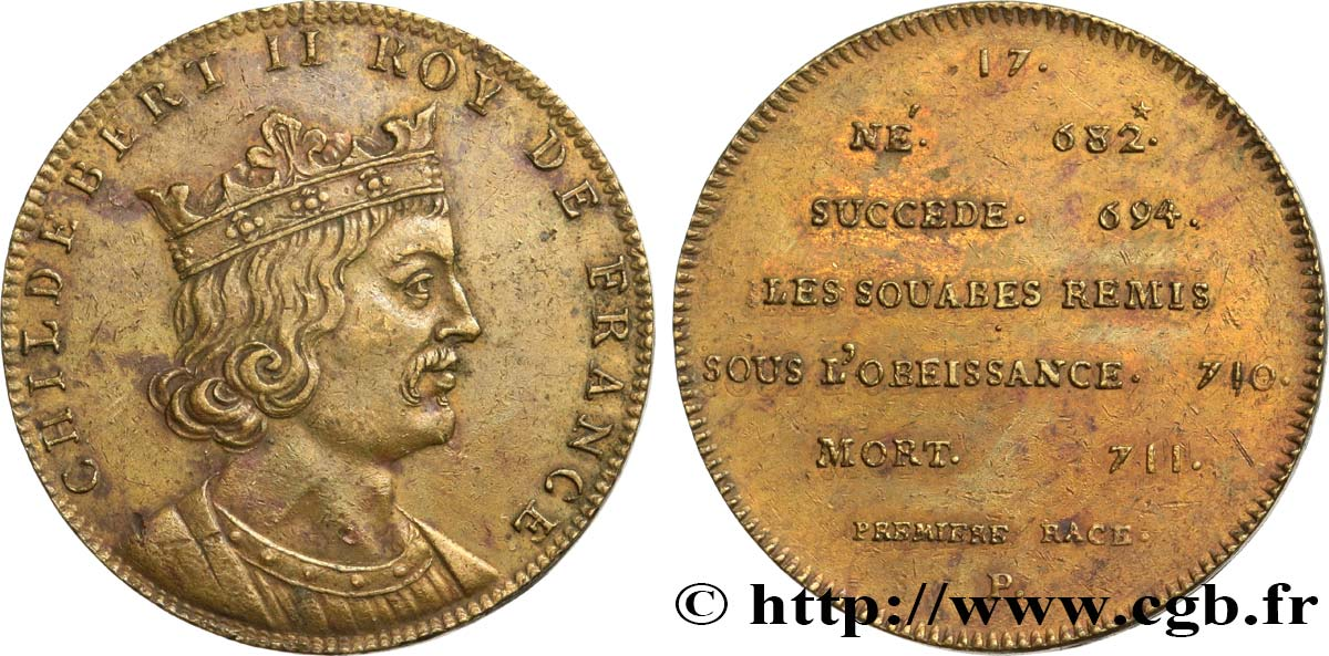 METALLIC SERIES OF THE KINGS OF FRANCE Règne de CHILDEBERT II - 17 - Émission Louis XVIII XF