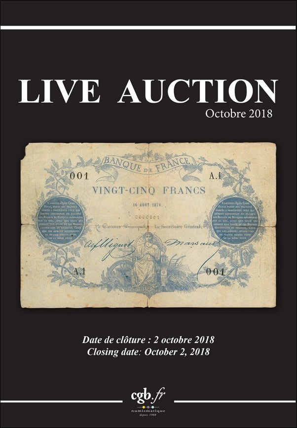 Live Auction Billets Octobre 2018 - Collection Daniel Masson et divers CORNU Joël, DESSAL Jean-Marc, VANDERVINCK Claire