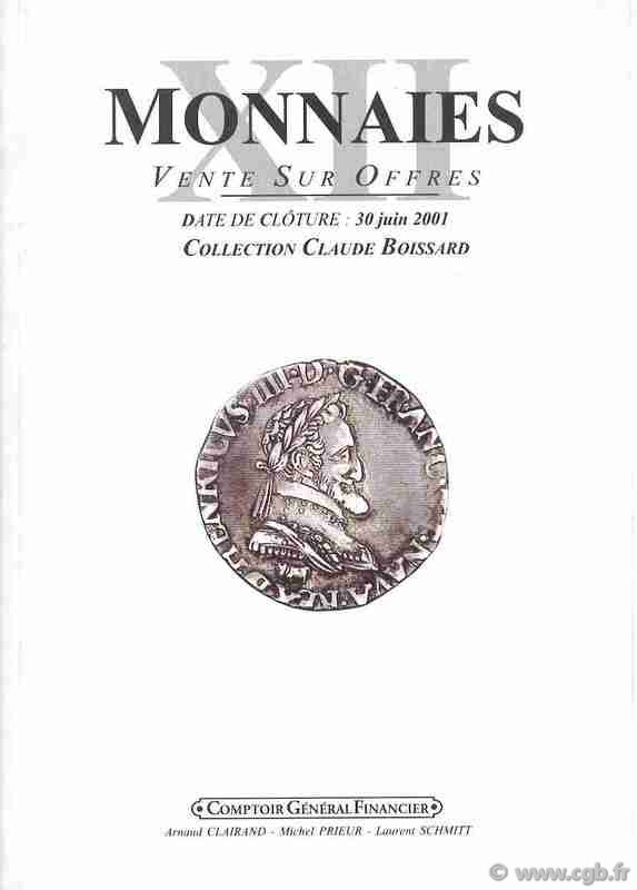 Monnaies 12, collection Boissard et monnaies royales CLAIRAND Arnaud, PRIEUR Michel, SCHMITT Laurent