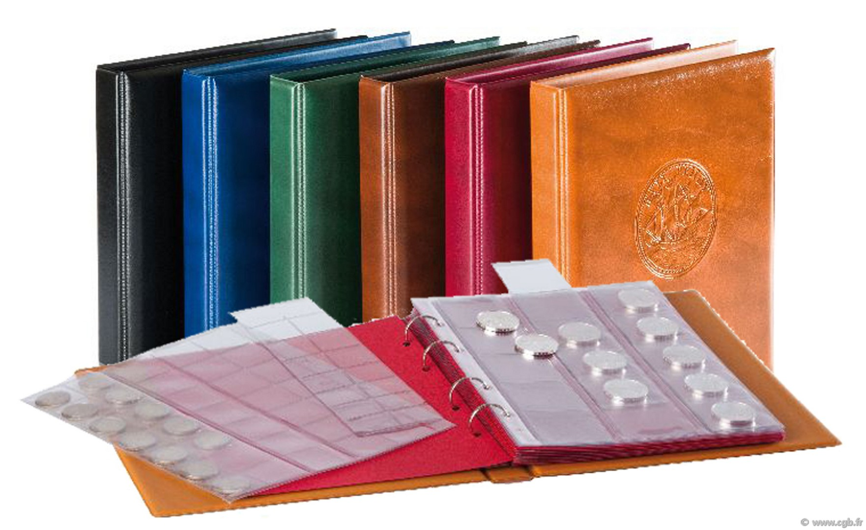 Classeur Louis rouge bordeaux Monnaies avec 10 pages assorties