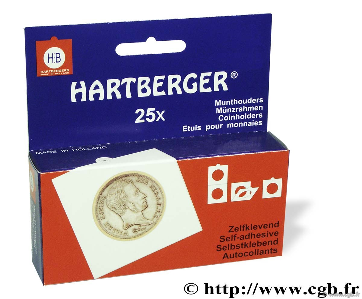 25 étuis HB autocollants diamètre 32,5 mm HARTBERGER