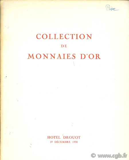 Catalogue de monnaies d or RHEIMS M.
