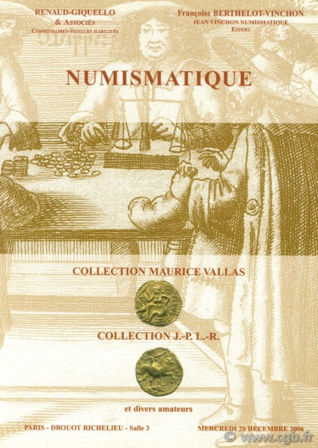 Numismatique, collection Maurice Vallas, Collection J.-P. L.-R. et diveres amateurs BERTHELOT VINCHON F.