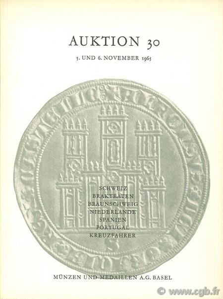 Auktion 30, Schweiz, brakteaten, Braunschweig, Niederlande, Spanien, Portugal, kreuzfahrer, 5. und 6. november 1965
