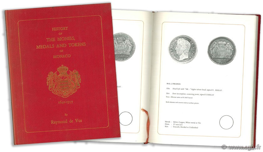 History of the Monies, Medals and Tokens of Monaco (1640-1977) VOS R. de