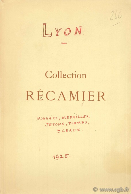 Lyon, Collection Récamier, 2 au 6 mars 1925 BOURGEY E.